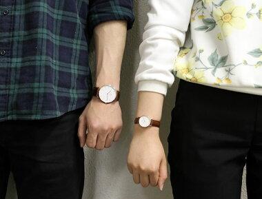 DanielWellingtonダニエルウェリントンペアウォッチ2本セット36mm26mmレザーメンズレディース腕時計男女兼用時計レザーベルト茶色系海外モデルギフト