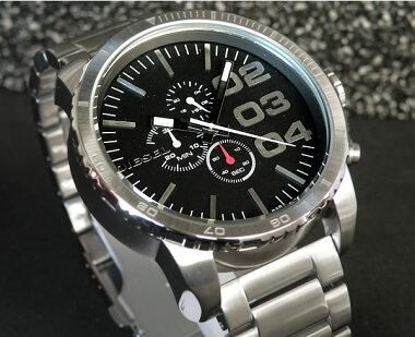 ディーゼル【DIESEL】DZ4209文字板ブラックお洒落なカジュアル腕時計シルバーメタルクロノグラフファッショナブルウォッチ【楽ギフ_包装】【smtb-KD】(沖縄・島嶼部は送料無料対象外地域)