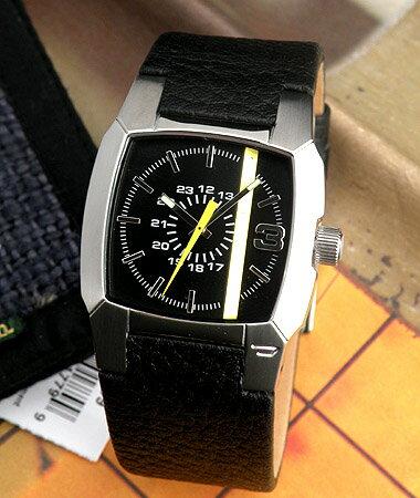ディーゼル 時計 腕時計 watchDIESEL DZ1089ブラックレザー ディーゼルロゴ入りライン メンズ レデ...