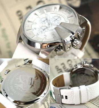 ★送料無料DZ4292DIESELディーゼルレザー海外モデルメンズ腕時計クロノグラフ時計白ホワイト