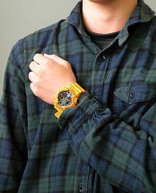 CASIOカシオG-SHOCKGショックジーショックgshockGA-100A-9A海外モデル時計メンズ腕時計多機能防水カジュアルウォッチ黄色イエローアナログデジタル誕生日プレゼントギフト商品到着後レビューを書いて3年保証ビックフェイス