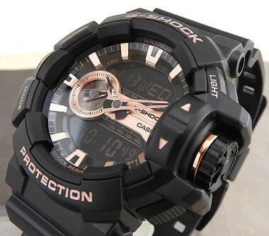 CASIOカシオG-SHOCKジーショックGA-400GB-1A4海外モデルメンズ腕時計ウォッチウレタンバンドクオーツアナログデジタル黒ブラック金ピンクゴールド