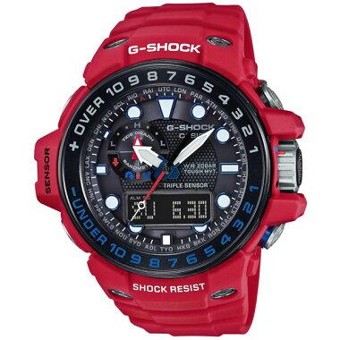CASIOカシオG-SHOCKジーショックMASTEROFGRESCUEREDGWN-1000RD-4AJF国内正規品メンズ男性用腕時計ウォッチ多機能防水ソーラー赤レッド