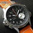 送料無料 ハミルトン HAMILTON メンズ 腕時計 時計 カーキE.T.O Khaki ETO H77612933 レザー 革ベルト オレンジ クロノグラフ 海外モデル 誕生日プレゼント ギフト