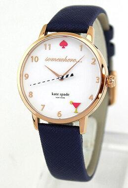 ★送料無料KateSpadeケイトスペードKSW1040海外モデルレディース腕時計ウォッチ革ベルトレザークオーツアナログ白ホワイト青ネイビー誕生日プレゼントギフト