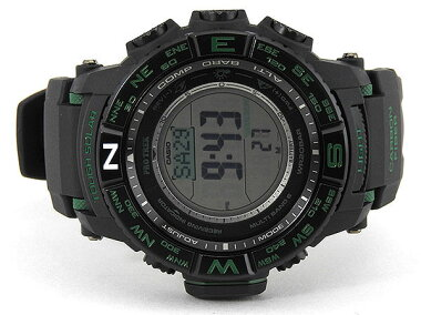 CASIOカシオPROTREKプロトレックタフソーラー電波時計RMSeriesRMシリーズPRW-S3500-1メンズ腕時計多機能黒ブラックグリーン海外モデル