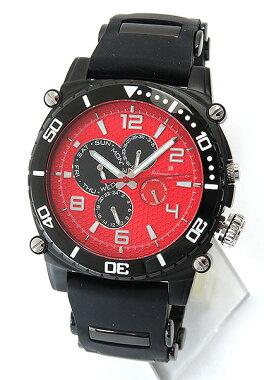 SalvatoreMarraサルバトーレマーラメンズ腕時計SM9010-IPBKRDブラックレッド黒赤ウオッチ時計新品男性用フルカレンダー