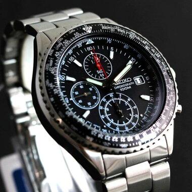 レビュー3年保証★送料無料SEIKO選べるセイコーパイロットクロノグラフメンズ腕時計SND253PC黒ブラックSND255PC青ブルー正規品