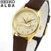 商品到着後レビューを書いて7年保証 SEIKO セイコー ALBA アルバ となりのトトロ ACCK401 国内正規品 レディース 腕時計 ウォッチ 革バンド レザー クオーツ アナログ 黄色 イエロー 茶 ブラウン 誕生日 ギフト