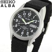 商品到着後レビューを書いて7年保証 SEIKO セイコー ALBA アルバ AEFD557 国内正規品 メンズ 腕時計 ウォッチ ナイロン ソーラー アナログ 黒 ブラック 銀 シルバー 誕生日 ギフト