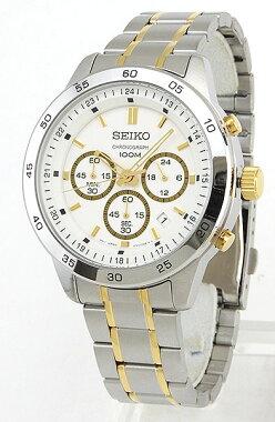 SEIKOセイコーSKS523P1海外モデルメンズ腕時計ウォッチクロノグラフ白ホワイト金ゴールド銀シルバー
