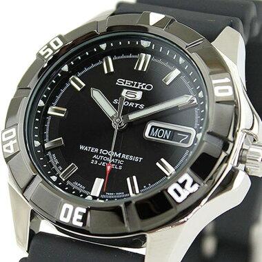 ★送料無料SEIKO5セイコー5スポーツSPORTSSNZD17J1メンズアナログメカニカル自動巻ブラック黒腕時計時計メンズデイデイトオートマチック海外モデル誕生日ギフト