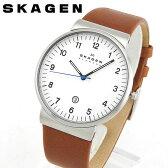 ★送料無料 SKAGEN スカーゲン SKW6082 海外モデル メンズ 腕時計 ウォッチ 革バンド レザー クオーツ アナログ 白 ホワイト 茶 ブラウン 誕生日 ギフト 北欧デザイン