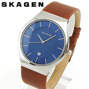 SKAGENスカーゲンSKW6160海外モデルメンズ男性用腕時計ウォッチ革バンドレザークオーツアナログ青ネイビー茶ブラウン