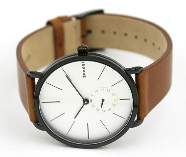 SKAGENスカーゲンSKW6216海外モデルメンズ腕時計ウォッチ革バンドレザークオーツアナログ銀シルバー茶ブラウン秋コーデ誕生日ギフト