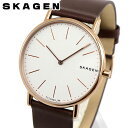 SKAGEN スカーゲン SKW8600 海外モデル メンズ 腕時計 ウォッチ 革ベルト レザー クオーツ アナログ 茶 ブラウン 白 ホワイト 北欧デザイン 誕生日プレゼント 男性 父の日 ギフト