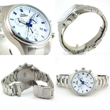 【送料無料】TimeOctoberタイムオクトーバーメンズ腕時計クロノグラフメタル黒ブラック白ホワイト赤レッド青ブルー