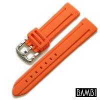 【バンビ】シリコンラバーオレンジ時計ベルト