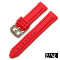 【バンビ】シリコンラバーレッド時計ベルト