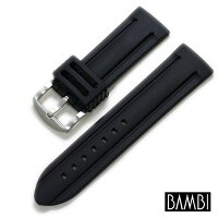 【バンビ】シリコンラバーブラック時計ベルト