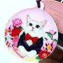 クリーナー付き猫イラストのモバイル ストラップ♪【107-14-Tuxedo】mariecat マリエキャット 携帯電話 スマホ ストラップ 猫| 白猫 韓国(1-2) その1