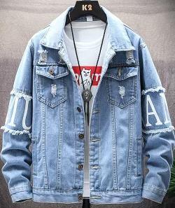 M/L/XL/2XL/3XL デニム ジャケット メンズ 無地 お兄系 ファッション 欧米風 長袖 コート ユニフォーム トップス メンズウェア ジャケット 春秋 ヒグ クラッシュ ダメージ 加工 大きいサイズ ライトジャケット