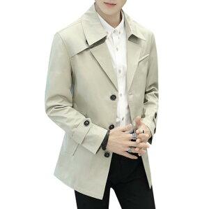 トレンチコート 男性 春秋 長袖 メンズ トップス カットソー メンズ メンズファッションシャツ ボダン ジャケット コート 紳士 韓国風 スプリングコート 薄手