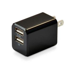 JTT 日本トラストテクノロジー 2ポートハイパワー 2.4A USB充電器 cubeタイプ224 CUBEAC224BK ブラック