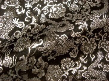 京西陣・金襴 生地 龍(銀) 10cm単位 切り売り 布地 和柄 生地 よさこい きんらん 金らん 龍柄