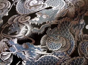 京西陣・金襴 生地 闘龍(銀) 10cm単位 切り売り 布地 和柄 生地 よさこい きんらん 金らん 龍柄