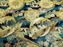 京都西陣織・金襴 生地 梅菊竹鳳凰(紺) 10cm単位 切り売り 布地 はぎれ 和柄 生地 よさこい きんらん 金らん