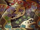 京都西陣織・金襴 生地 道長流しに荒磯(艶紺) 10cm単位 切り売り 布地 はぎれ 和柄 生地 よさこい きんらん 金らん