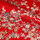 金彩友禅 花鳥文様 (赤) 10cm単位 切り売り 着物生地布 和柄 生地 はぎれ 通販 和柄生地 和風 布地