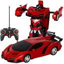 電動RCカー おもちゃの車 リモコンカー ラジコンカー 無線操作 ロボットに変換することができます 非常...