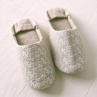刺繡花邊房間鞋 (花邊刺繡室內鞋拖鞋辦公室在天然亞麻大麻耐水洗耐水洗)