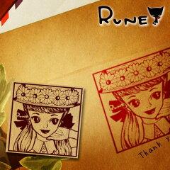【メール便対象外】ルネ花帽子の少女 ぬりえスタンプはんこ