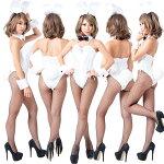 バニーガール衣装9点セット飾り付【ホワイト】ドレスアップバニー衣装・裏地付