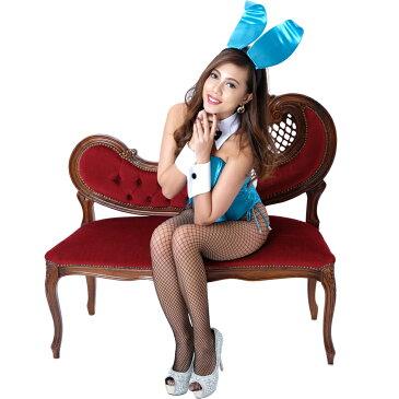 【大きいサイズ】バニーガール衣装 大きいサイズ 9点セット【ブルー】プレーン バニー衣装・裏地付