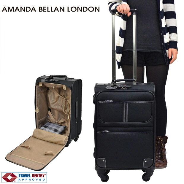 22225b3099 ソフトキャリーケース スーツケース TSAロック搭載 AMANDA BELLAN LONDON アマンダ ベラン ロンドン ファスナータイプ 4輪  41L 2日 3日用 51cm Mサイズ ブラック 91227