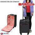 キャリーケース スーツケース かわいい 機内持ち込み可 TSAロック 軽量 AMANDA BELLAN LONDON アマンダベランロンドン ファスナータイプ 4輪 28L 1日 2日用 45cm Sサイズ ブラック 91284 【送料無料・1年保証付】