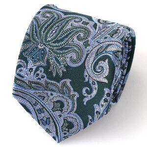 ネクタイ メンズ ペイズリー 総柄 グリーン カーキ 緑色 日本製 シルク100% 結婚式 プレゼント フォーマル Franco Spada(フランコ スパダ)