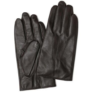 手袋 メンズ 本革 レザー カシミヤ カシミア ダークブラウンブラウン 茶 茶色 日本製 手袋 ラムスキン(仔羊革) グローブ [KURODA(クロダ)]