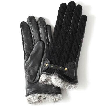 【ブランド化粧箱付き】 KURODA(クロダ) スマホ対応 ニット手袋 レディース ブランド 本革 ラビットファー ブラック 黒 黒色 暖かい かわいい カジュアル 女性 プレゼント クリスマス 誕生日 ギフト 皮 てぶくろ