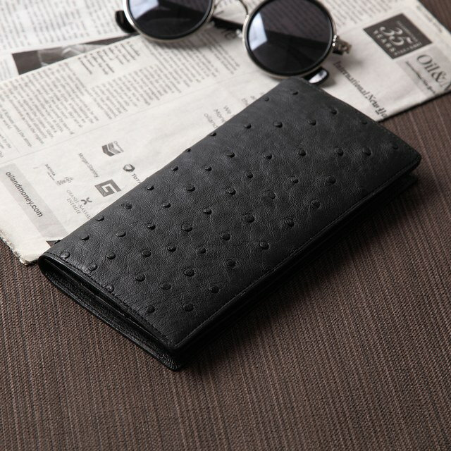 d88c1ba579a3 二つ折り財布 メンズ財布 二つ折り 革財布 ハンドメイド 小銭入れあり最高級オーストリッチレザーでおつくりします内装もオーストリッチ革の二つ折り長財布【 日本製】
