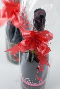 ラッピング ワイン 袋 透明袋&リボン(リボン:ローズ) お中元 お歳暮 御中元 御中元ギフト 中元 中元ギフト お酒