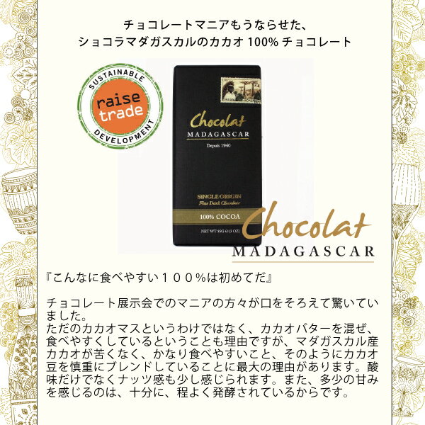 ショコラマダガスカルダークチョコレート100%BeantoBarChocolate(ビーントゥーバーチョコレート)ツリートゥーバーチョコレートオーガニックフェアートレードレイズトレード低糖質・砂糖不使用チョコレートカカオ70%以上