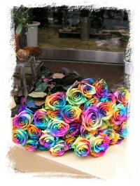 レインボーローズ50本の花束