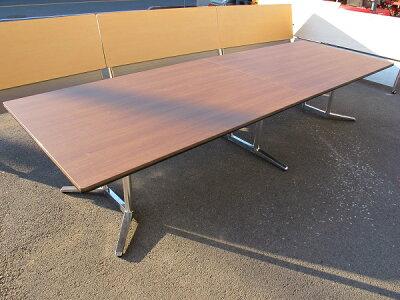 オカムララティオミーティングテーブルW3600D1200H720ネオウッドダーク