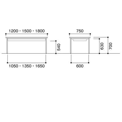ニシキCKミーティングテーブル棚付W1200D750H700CK-1275SS