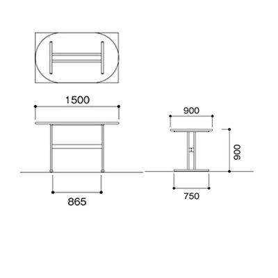 ニシキNAT福祉・医療施設用テーブル角型W1500D900H900NAT-1590K